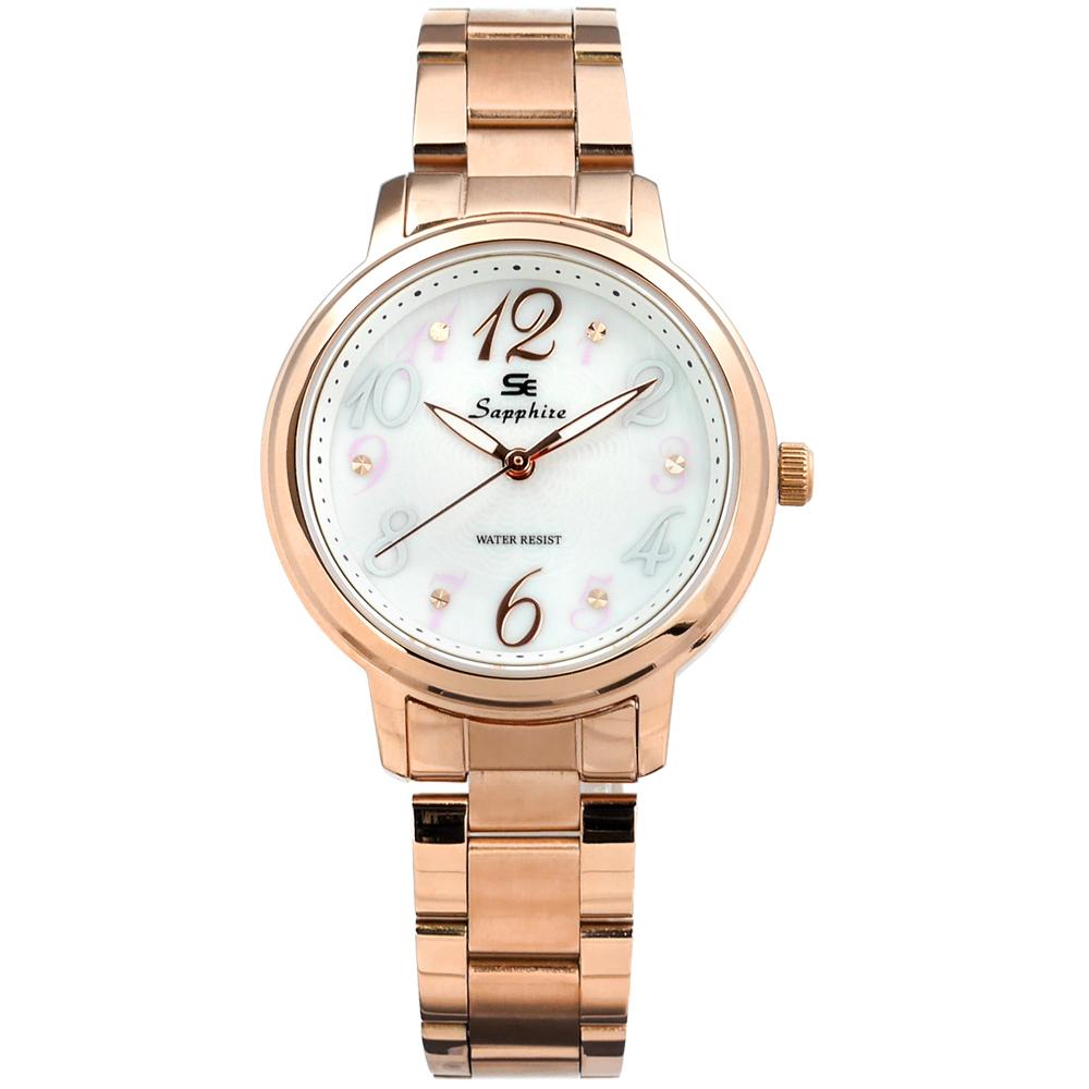 Sapphire 花朵綻放晶鑽刻度不鏽鋼手錶-白x鍍玫瑰金/31mm