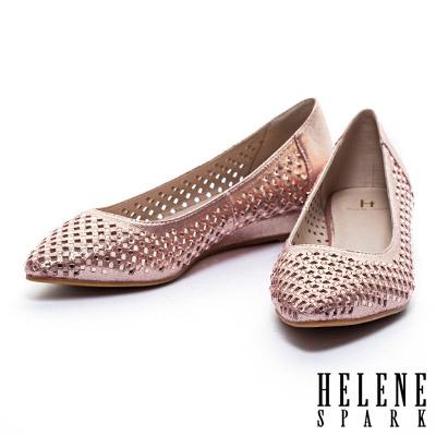 楔型鞋-HELENE-SPARK-金屬光澤晶鑽沖孔尖頭楔型低跟鞋-粉