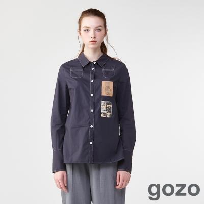 gozo復古貼標漫畫描線襯衫(深藍)