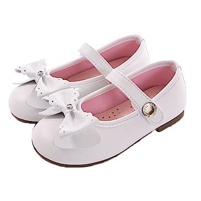 蝴蝶結手工魔鬼貼娃娃鞋 白 sk0331 魔法Baby