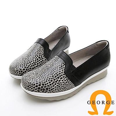 GEORGE 喬治-時尚豹紋雙色厚底包鞋休閒鞋-黑