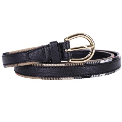 BURBERRY HOUSE 格紋馬勒牛皮窄版腰帶(黑色)