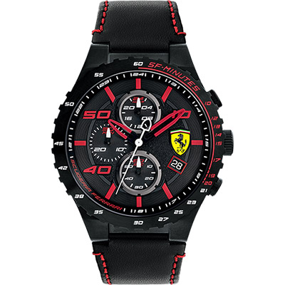 Scuderia Ferrari 法拉利 evo 三眼計時腕錶-黑x紅時標/46mm