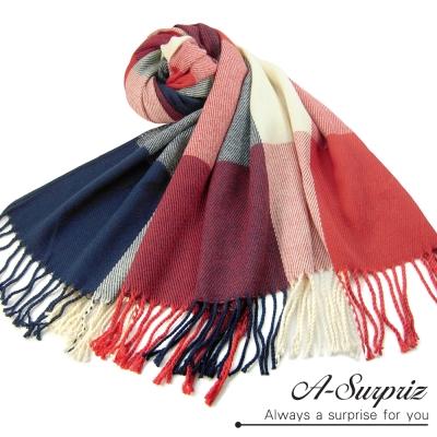 A-Surpriz-典雅英倫方格寬版仿羊絨披肩圍巾-紅藍格