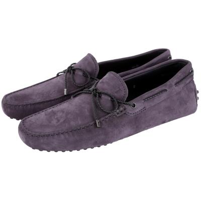 TOD'S Gommino Driving 麂皮綁帶豆豆休閒鞋(紫色)