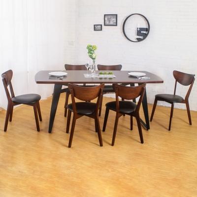 Boden-諾曼工業風實木餐桌椅組(一桌六椅)-180x90x75cm