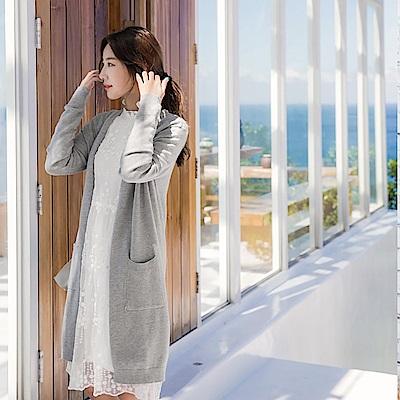 素色柔質針織長版外套-OB大尺碼