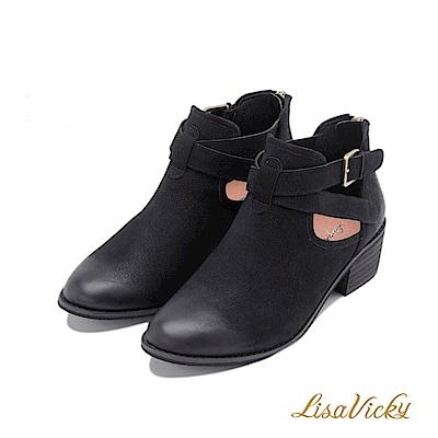 LisaVicky麂皮交叉環扣帶粗低跟短靴-黑色