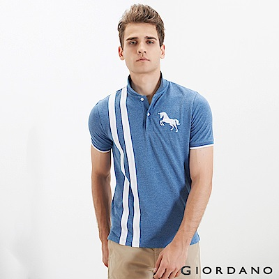 GIORDANO 男裝經典撞色刺繡彈力棉POLO衫-15 雪花中洗水藍