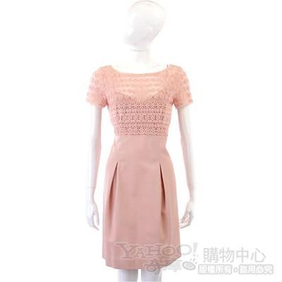 PHILOSOPHY-AF 粉色織花拼接短袖洋裝