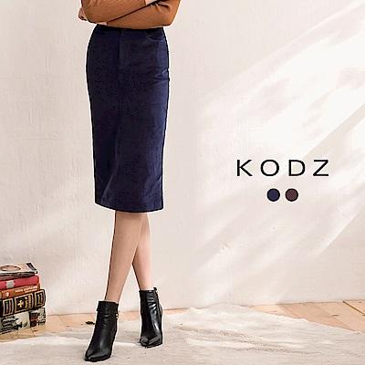 東京著衣-KODZ 經典系都會顯瘦燈芯絨設計中長裙-S.M.L