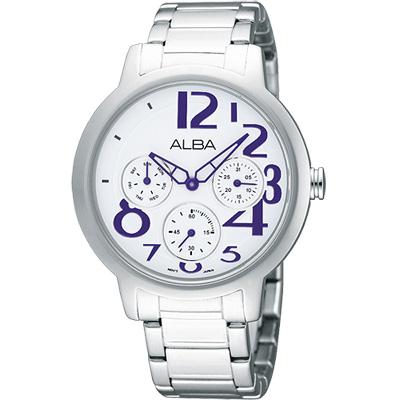 ALBA Fashion Lady 完美情人日曆女錶(AP6059X)-銀x紫時標/38mm
