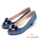 CUMAR-美人水鑽裝飾低跟魚口宴會鞋-藍