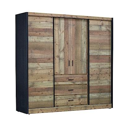 AT HOME-韋恩工業風7×7尺厚切木紋推門衣櫃(206*60*203cm)