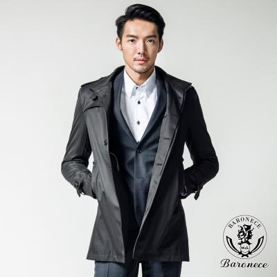 BARONECE 時尚品味中長版風衣外套_黑色(551316-90)