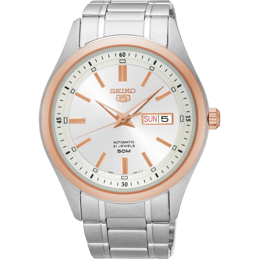 SEIKO 精工5號盾牌日曆機械腕錶(SNKN90J1)-銀x玫塊金框/44mm