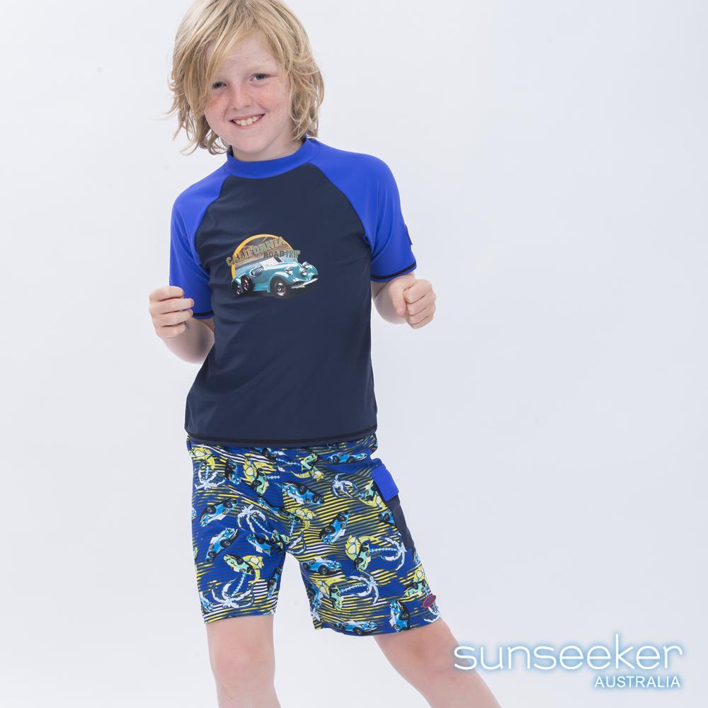 澳洲Sunseeker泳裝抗UV防曬短袖泳衣-大男童上衣/汽車深藍