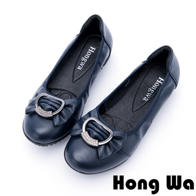 Hong Wa - 甜美大蝴蝶結牛皮水鑽娃娃鞋 - 藍