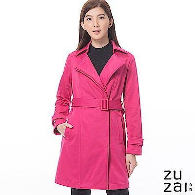 zuzai 自在卓絕長版防水保暖風衣-女-桃紅色