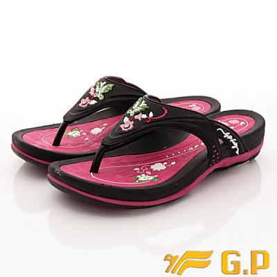 GP時尚涼拖-舞蝶夾腳拖鞋款-SE532W-15黑桃粉(女段)