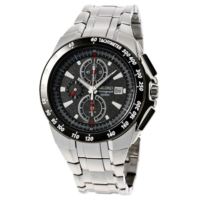 SEIKO 風馳玩家三眼計時腕錶(SNAB09J1)-灰黑/43mm