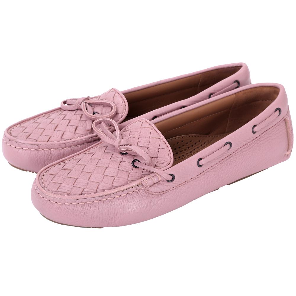 BOTTEGA VENETA 經典編織莫卡辛鞋(粉紅色)