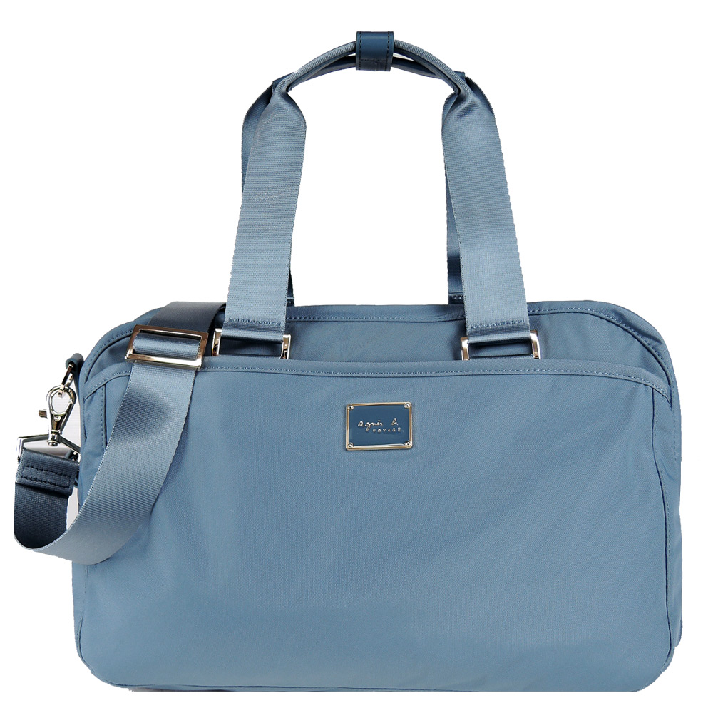 agnes b. 雙槓金屬LOGO尼龍旅行袋(小/霧藍)