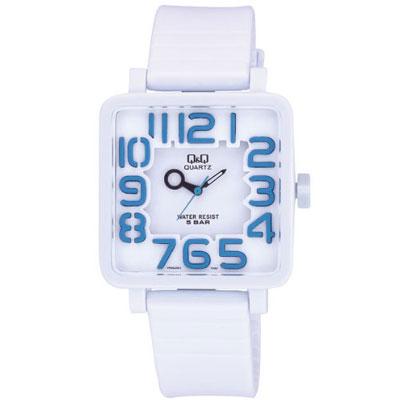 Q&Q 日系個性立體方正混搭泡泡糖潮流錶-白/38mm