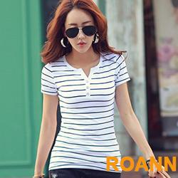小V領條紋水鑽裝飾短袖T恤 (共四色)-ROANN