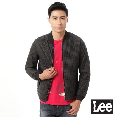 Lee 鋪棉外套 不同圖形車線紋拼接-男款(黑)