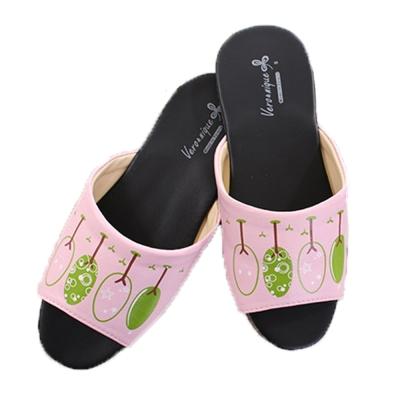 防滑靜音皮拖鞋(2雙一組) 粉底樹 sd0053魔法Baby