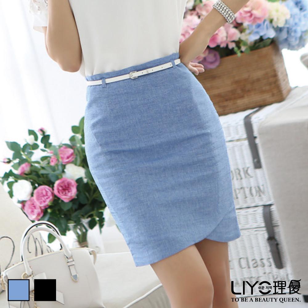 LIYO理優裙子斜片包臀短裙(藍,黑)