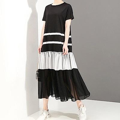 條紋層次雪紡接擺寬版洋裝-(共二色)Andstyle