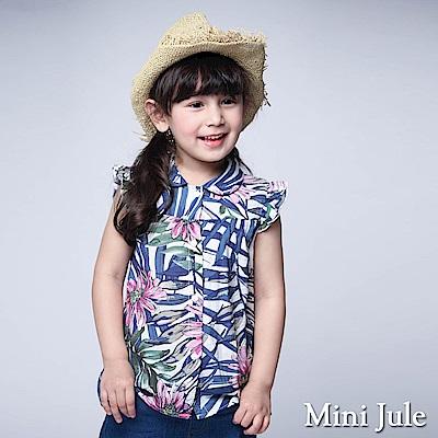 Mini Jule 童裝-上衣 彩繪熱帶花草荷葉袖襯衫(藍)
