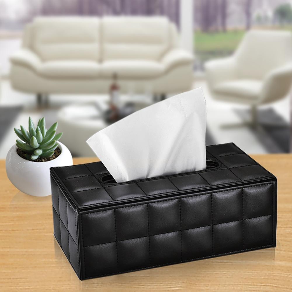幸福揚邑 歐式方格紋皮革 磁吸式收納面紙盒-時尚黑