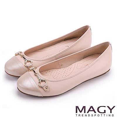MAGY 甜美時尚 牛皮金屬雙釦飾平底娃娃鞋-粉紅