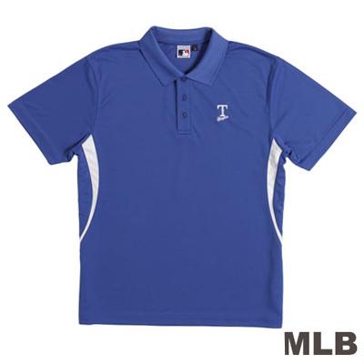MLB-德州遊騎兵隊開釦式電繡POLO衫-藍(男)