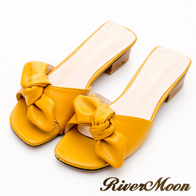 River&Moon涼拖鞋-軟皮蝴蝶結方頭小跟涼拖鞋-芥黃