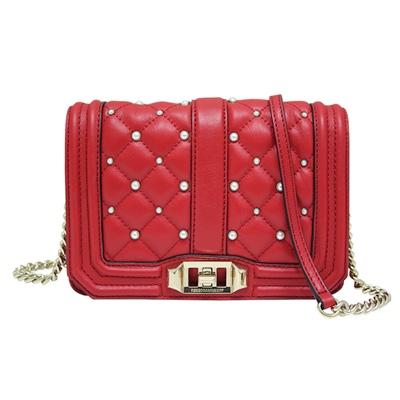 REBECCA MINKOFF LOVE 珍珠菱格紋牛皮斜背包-紅色(小)