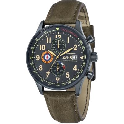 AVI-8 飛行錶 HAWKER HURRICANE 潮流手錶-鐵灰/42mm