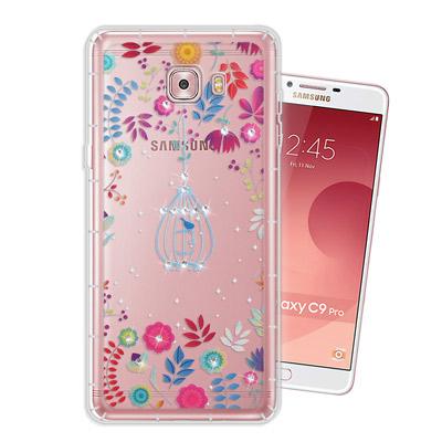 WT Samsung Galaxy C9 Pro 奧地利水晶彩繪空壓手機殼(鳥羽...