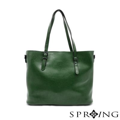 SPRING-真皮大理石紋簡單生活托特包-綻放綠