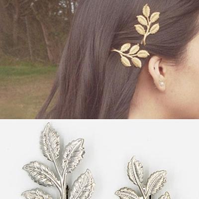 梨花HaNA-超仙森林精靈葉片髮夾銀色二入