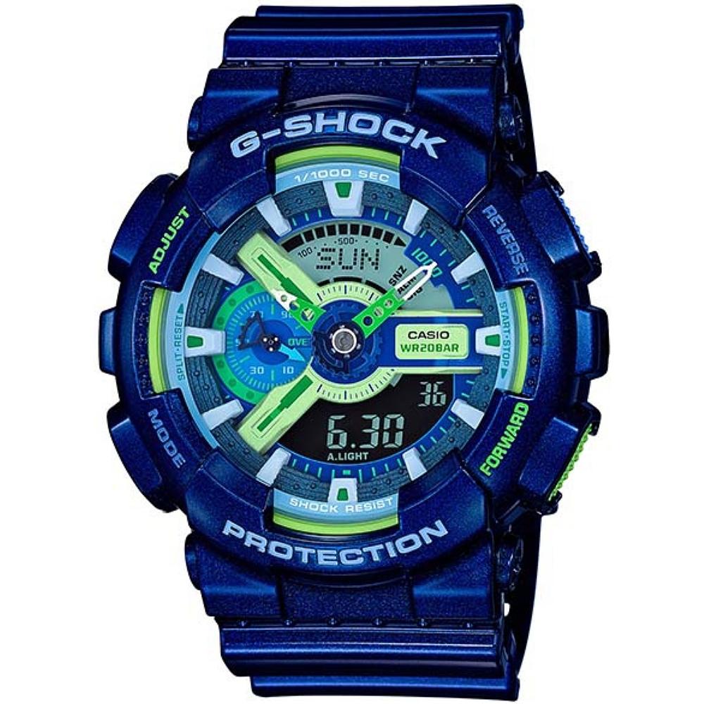 G-SHOCK 超人氣雙顯式撞色腕錶(GA-110MC-2A)-藍X螢光綠/51.2mm