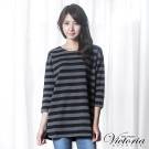 Victoria 條紋拼接寬鬆長版八分袖T-女-灰黑條