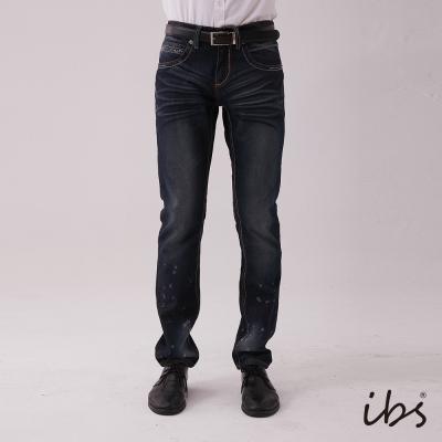 IBS 山形袋花低腰舒適窄管褲-深藍-男
