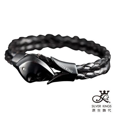 原生飾代SilverKings-初衷-皮手環+316L白鋼-黑