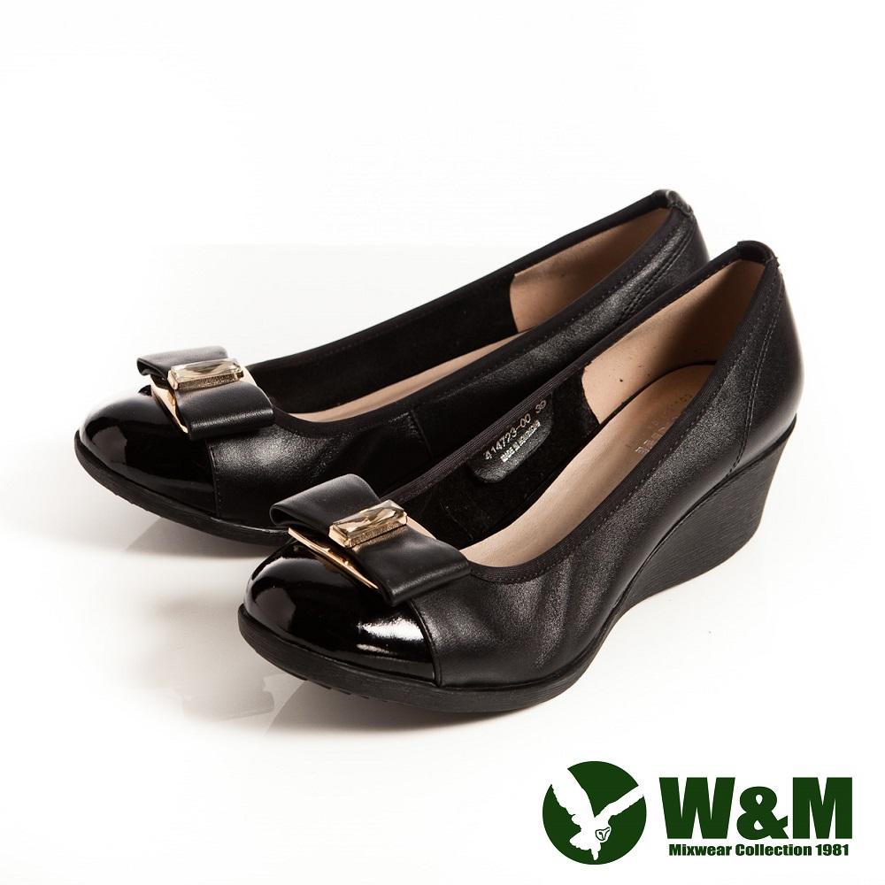 W&M 時尚風大方白鑽蝴蝶結包頭OL中跟楔型鞋-黑