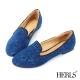 HERLS-典雅-內真皮-花柄-樂福鞋-藍色