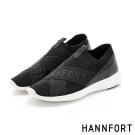 HANNFORT ICE飛線針織時尚運動氣墊鞋-女-經典黑